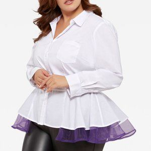 14 Ashley Stewart Organza Trim Peplum Button Shirt